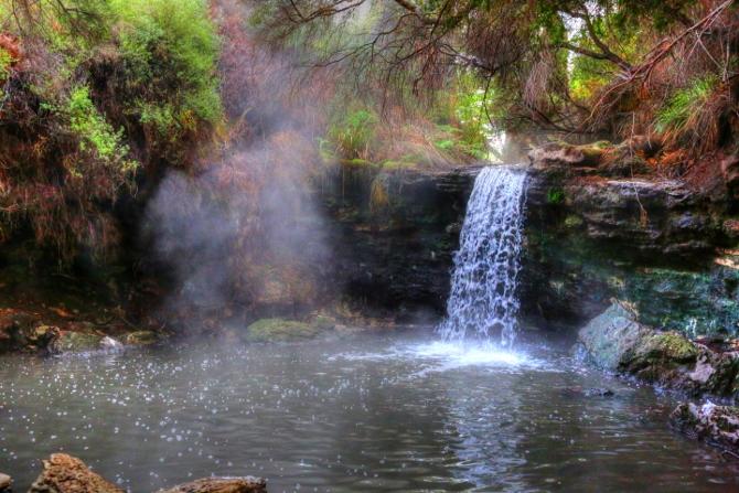 Secret hotpool waterfall