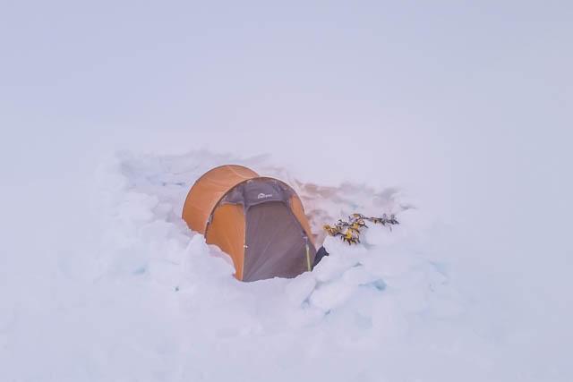 Winter camping on Mt Ngauruhoe